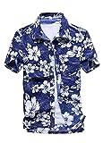 (ワイ-ミー)Y-ME 夏 半袖シャツ アロハシャツ ビーチシャツ  おしゃれ 通気性 blue color XL