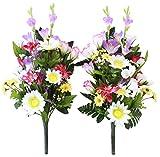 山久 仏様のお供えに グラジオラスとトルコキキョウの花束一対 0808-5972 (CT触媒加工)【シルクフラワー】【造花】