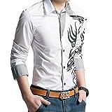 【 Smaids×Smile 】 メンズ シャツ トップス 柄 長袖 七分袖 スリム 刺繍 カジュアル トライバル (M, ホワイト)