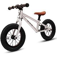 XJD キックバイク 子供用 ペダルなし自転車 2歳~6歳対象 12インチ ゴムタイヤ装備 超軽量 アルミ製 高級感溢れ プレゼントに最適 (シルバー)