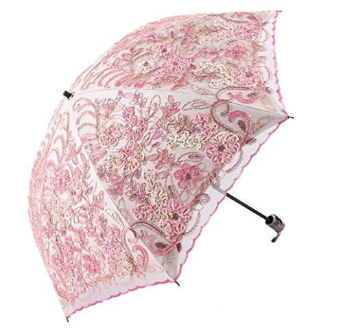 Godlovefull日傘折りたたみレース日傘立体的な花柄細工刺繍二重張りUVカット2段折コンパクト耐風レディースおしゃれ(ピンク)