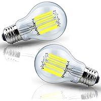 LED電球 エジソン電球 フィラメント E26口金 10W 100W形相当 電球色2700K 調光対応 シャンデリア用LED電球 A60 レトロ クリアタイプ 広配光(2個入り)