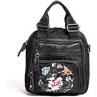 CXQ 文学婦人黒バックパックオックスフォード布ショルダーバッグショルダーバッグメッセンジャーバッグハンドバッグ手作りの刺繍バックパック
