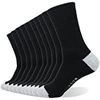 PlusAg 10P Pack Men's Cotton Moisture Wicking Extra Heavy Cushion Crew Socks