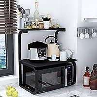 PENGFEI オープンシェルフラック 木製 キッチンラック 電子レンジラック 調味料ボトル 料理、 使用可能な4色、 1層/2層 家具スパイスキッチン (色 : Black-2#)