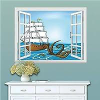壁が窓に早変わり! 賃貸部屋OK! 南国 ビーチ ウォールステッカー ウォールペーパー シール 模様替え 剥がせる ヨーロッパ 風景 景色 海 お洒落 で 可愛い 80x60 クラーケンの装飾 波とクラーケンアドベンチャージャーニー旅行グラフィックイメージ ブルーブラウンの古い帆船
