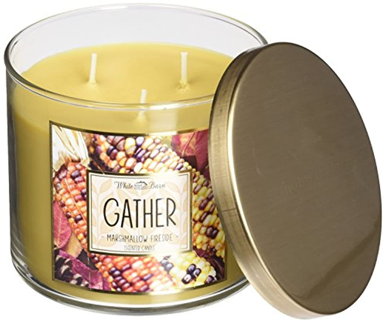 著名な芽バイアスBath & Body Works Gather Marshmallow Fireside White Barn Scented Candle 3 Wick 14.5 Oz Limited Edition 2015 by...