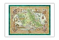 オアフ島の地図、集会場所 - ビンテージなハワイアンカラーの地図製作のマップ によって作成された デイヴ・スティーヴンソン - アートポスター - 76cm x 112cm