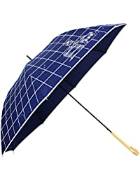 [婦人傘] チェック&キャット 60cm 耐風 ジャンプ傘