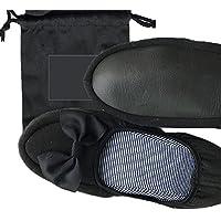 WAGOCORO 携帯スリッパ 女性用 リボン 幼稚園 お受験 折り畳み 室内履き 旅行 出張 学校 収納袋付き