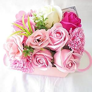 フラワーアレンジメントのプレゼント 花 ギフト 誕生日プレゼント女性 ソープフラワー フレグランス フラワー 造花 (アレンジフラワーBOXピンク)