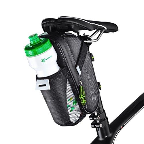 ROCKBROS(ロックブロ)マウンテンバイク サドルバッグ ナイロン防水 シートポストバッグ ボトルバッグ (ブラック(カーボン))