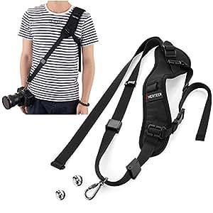 AMERTEER 一眼レフ カメラ用ストラップ ショルダー 調節可能 シンプル 臨機応変速い 見た目が綺麗 格好いい 135cm ブラック