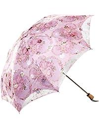 Spinas(スピナス) 雨にも紫外線にも負けない日傘 UVカットフラワーレース刺繍 晴雨兼用の折り畳み日傘 ゴージャスな日傘でファッションをもっと楽しもう (二つ折り, ピンク)