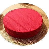 クッション丸い畳綿のリネンアート布団和式洗濯クッション瞑想ヨガマット,レッド,直径40cm厚6cm