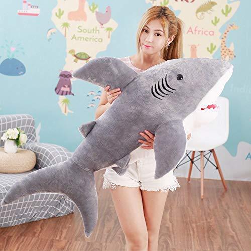 林新 サメ ぬいぐるみ 特大 サメ抱き枕/鮫ぬいぐるみ/子供プレゼント/お祝い/ふわふわぬいぐるみ サメ (画像通り) … (100cm)