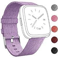 umwon Fitbit Versaバンド、ファッション手首ストラップ交換バンドレディースメンズクイックリリースWatch Band with Adjustableステンレスメタルバックルfor Fitbit Versa Fitness Smart Watch (パープル)