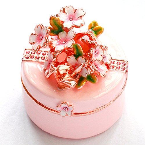 クリスタルジュエリーボックスのトップブランド ピィアース <初桜(ピンク) ジュエリーボックス>小さな折鶴に願いを込めて春の贈り物に ex536-1【ピィアース直営ショップ】