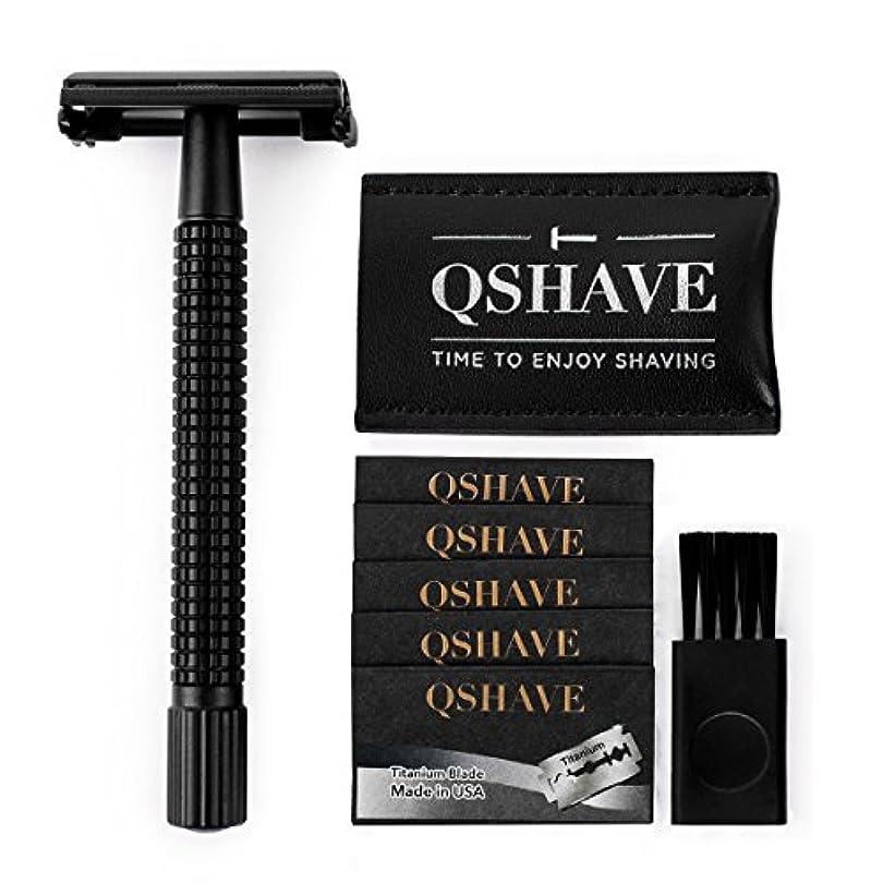 つらい囲い参加するQSHAVE 両刃剃刀 4インチ長ハンドル安全カミソリ ツイストバタフライオープン マットブラックスチールコーティング(カミソリ1本 + チタンコート替え刃5枚+レザートラベルケース)