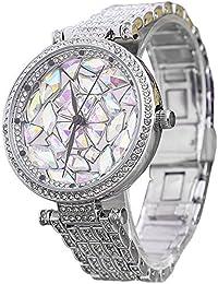 Rosepoem エレガントなクリスタルの装飾バングルウォッチ シックなファッション時計 ラグジュアリーラインストーンの腕時計 女性女性の女の子のための スリヴァー&カラフル