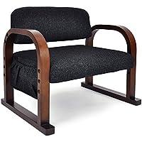 立ち上がりラクラク 優しいお座敷座椅子 「みやび」 (高さ3段階調節) ファブリックタイプ 天然木製 ブラック色