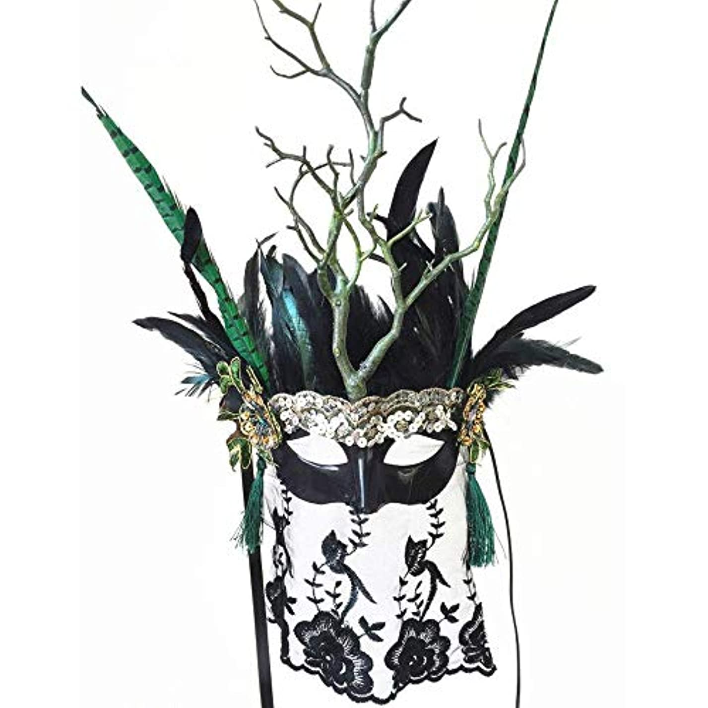 大臣右パプアニューギニアNanle ハロウィーンクリスマスドライブランチレースフェザースパンコールタッセルベールマスク仮装マスクレディミスプリンセス美しさの祭りパーティー装飾マスク (色 : Style A)