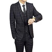 【HAFOS】(ハフォス) メンズスーツ セット 英国 イギリス風 ビジネススーツ 3点セット ジャケット ベスト ズボン オシャレ 高画質 カジュアル チェック柄 スリム パーティー イベント スタイリッシュ スーツカバー付き S~XXXLサイズ