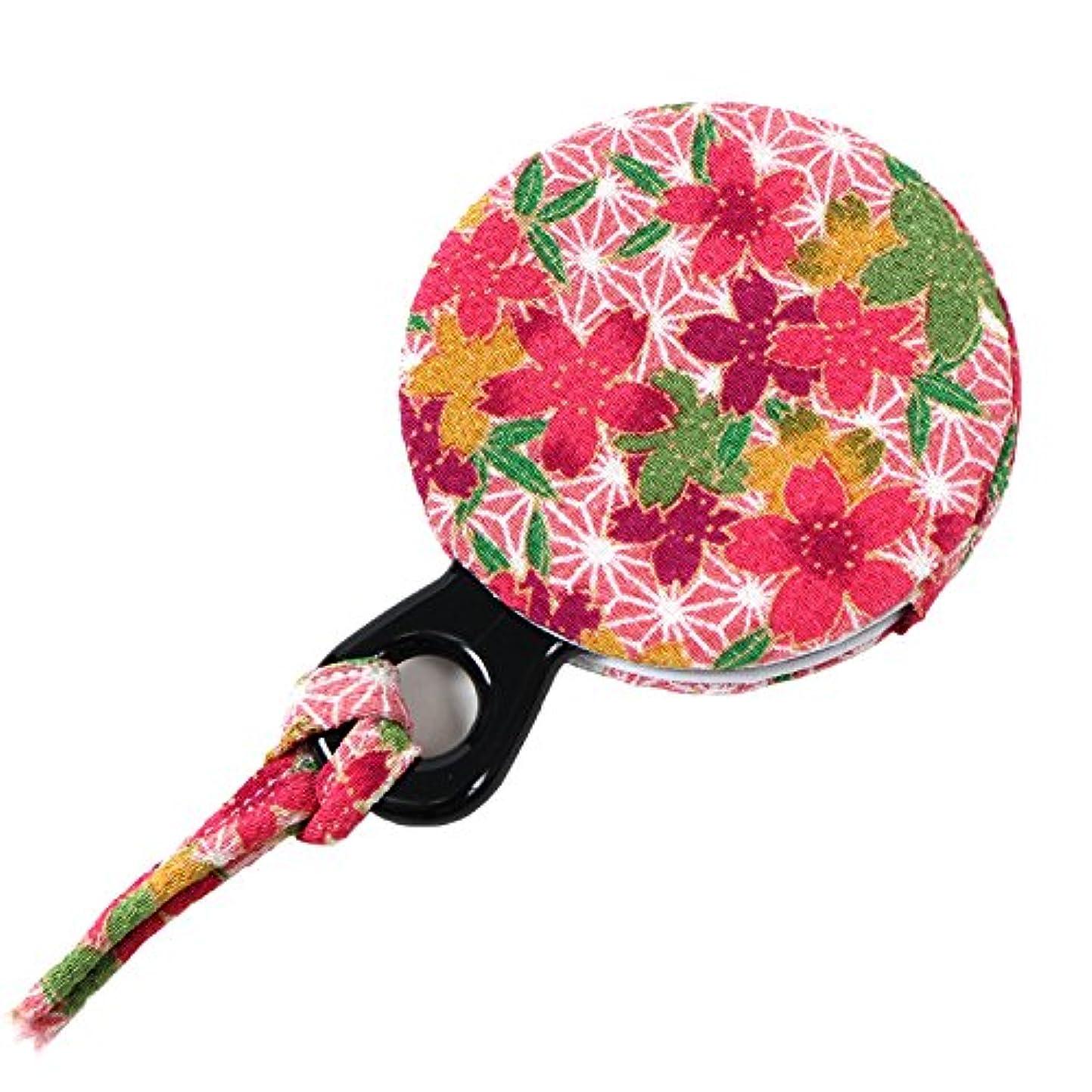 深める鷹元に戻す小紋工房 手鏡 賑い麻の葉桜(ピンク) 二越ちりめん 京都 和KOMONO 江戸小紋 1304