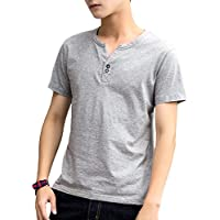 [meryueru(メリュエル)] フェイクボタン ヘンリーネック Tシャツ カジュアル 半袖 トップス 春 夏 秋 メンズ