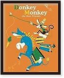 ミニポスター×フレームセット FLIP ILLUSTRATION Donkey Monkey 黒 FST-110