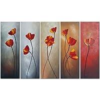 Wieco art-red花びら100%手描きベストセラー品質Goods木製フレーム付き背面の高Q。壁の装飾花油絵のキャンバス5点/セット 10x30inchx5pcs (25x75cmx5pcs) LEPAZC11218