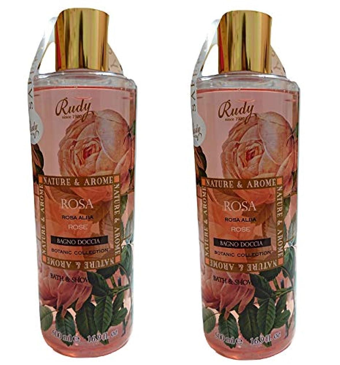 奪う句読点遺産(まとめ買い)RUDY Nature&Arome SERIES ルディ ナチュール&アロマ Bath&Shower Gel バス&シャワージェル ローズ (2本セット)