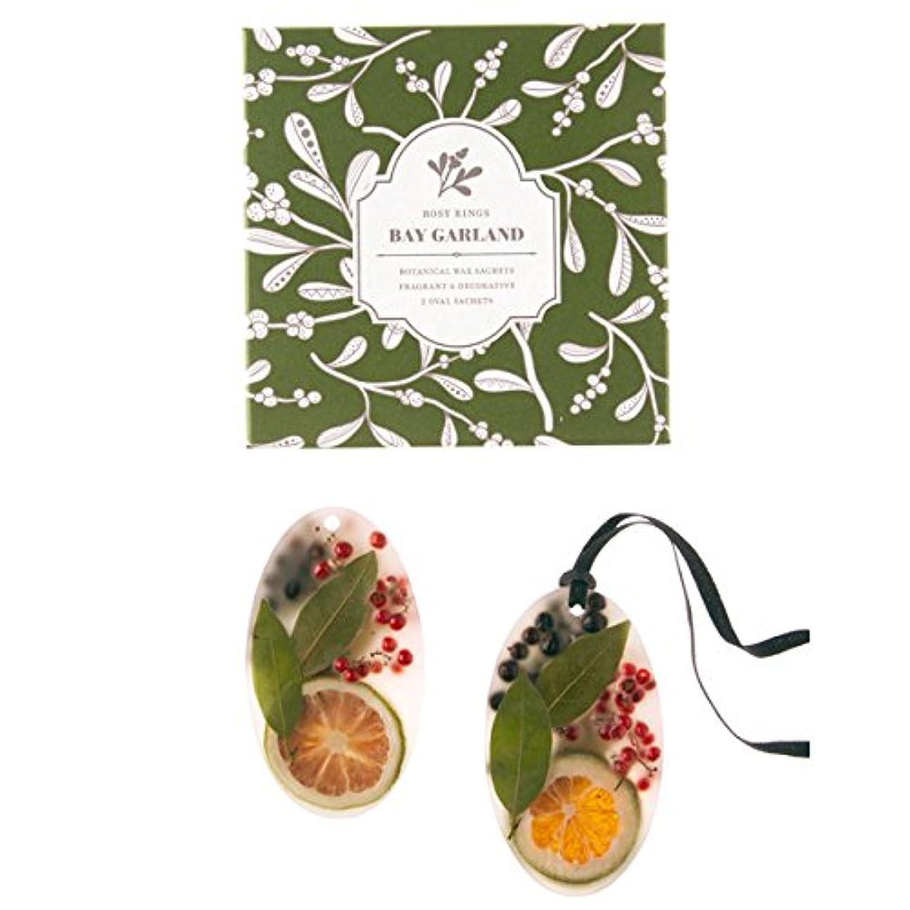 何褐色の頭の上ロージーリングス ボタニカルワックスサシェ オーバル ベイガーランド ROSY RINGS Signature Collection Botanical Wax Sachets – Bay Garland