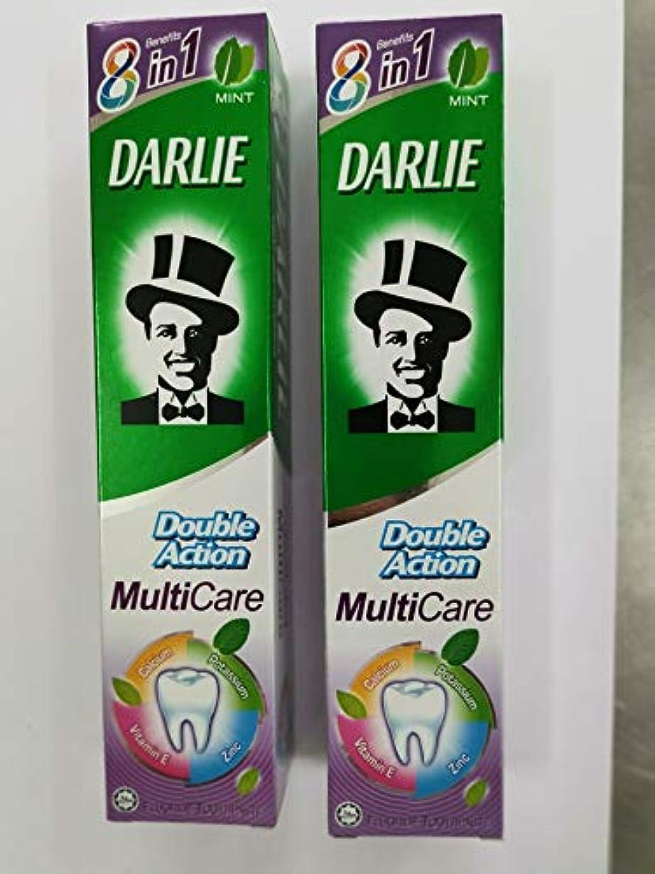 前書き元気株式DARLIE 歯磨き粉ダブルアクションマルチケア 180g x 2-空洞を飛行し、歯を強化するフッ化物が含まれています