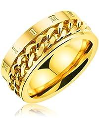 [ティンティンローズ]TingTing Rose ステレンス製 メンズ リング 指輪 回転可能なチェーンテザー ローマ数字 リング 男性指輪 日本サイズ:21号 ゴールド