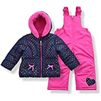 Arctic Quest Infant & Toddler Girls Puffer Jacket with Fleece Lining and Snow Bib Pants Set
