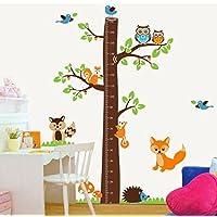 樱のホーム DIYかわいいキツネの木高さの測定ステッカー 子供部屋取り外し可能な壁のステッカー(図示)