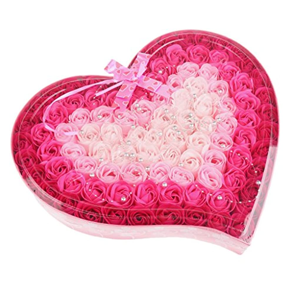 インタネットを見る十分振りかけるFenteer ソープフラワー  約100個 心の形 ギフトボックス 石鹸の花 誕生日  プレゼント 全4色選べる - ピンク