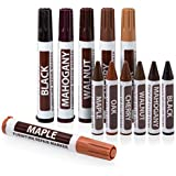 Ram-Pro Furniture Markers Touch Up Repair System - 12Pc Scratch Restore Kit - 6 Felt Tip Wood Markers, 6 Wax Stick Crayons  