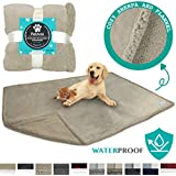 PetAmi Waterproof Dog Blanket for Bed Couch Sofa | Warm Sherpa Pet Throw Blanket | Super Soft Microfiber Fleece | Reversible Design for Puppy and Large Pet Dog | 60 x 80 Inches (Taupe/Taupe Sherpa)