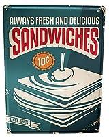 なまけ者雑貨屋 Sandwiches アメリカン 雑貨 ナンバープレート ヴィンテージ風 メタルプレート ブリキ 看板 アンティーク レトロ