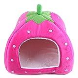 ペットハウス 小型犬・猫対応 冬 暖かい 室内用 いちご型(s)ピンク