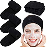 Spa Facial Headband Whaline Head Wrap Terry Cloth Headband 4 Counts Stretch Towel with Magic Tape for Bath, Makeup and Sport (Black)
