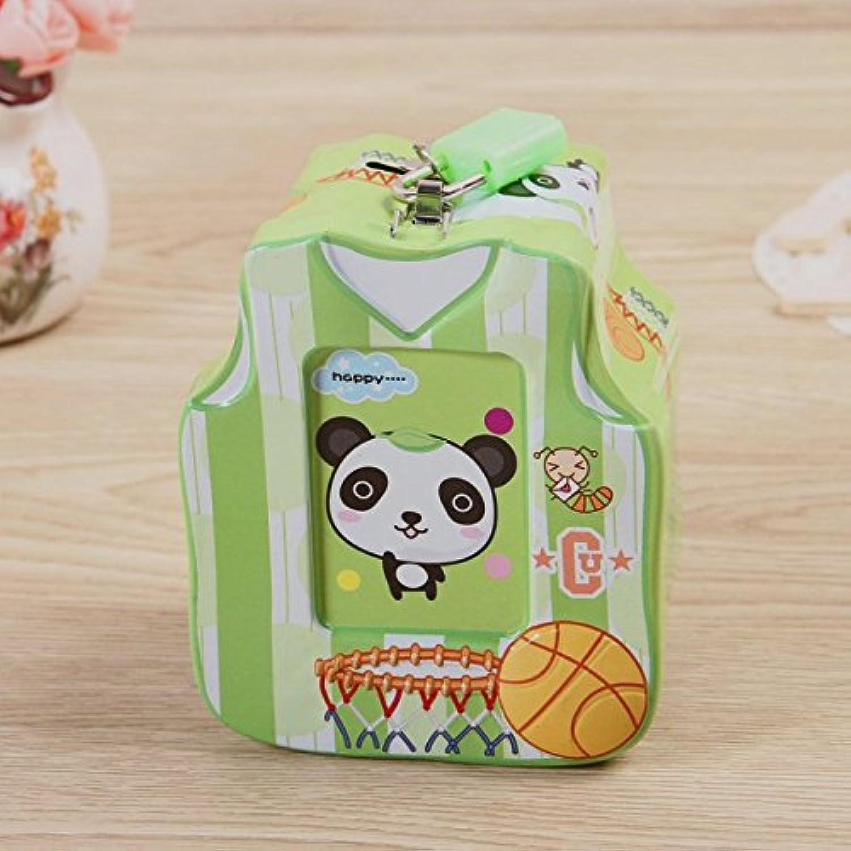 マネー バンク バスケットボールのシャツマネーボックス興味深いティンプレート貯蔵ボックス子供の独占的な贈り物(グリーン)