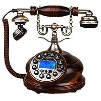 GJ ソリッドウッドハンズフリー電話アンティークバックライトの固定電話は、オフィスの家の装飾に使用 GJDSF (色 : Solid wood hands-free backlight)