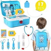 子供用お医者さんキット 17ピース 子供ごっこ遊び玩具 医療セット 丈夫なギフトバックパック お医者さんのおもちゃ 女の子と子供用 ブルー