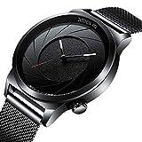 腕時計メンズ腕時計ビジネスデザインシンプルなスポーツブラックウォッチアナログクォーツ腕時計スリムミラネーゼメッシュバンドウォッチ