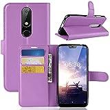 Nokia 6.1 Plus ホルスター シェル フリップ, Moonmini カバー Suit プレミアム 垂直 レザー ポーチ スリーブ 携帯 シェル シェル 〜と カード スロット ホルスター の Nokia 6.1 Plus (Purple)