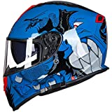 Fashion Motorcycle Riding Full Face Helmet Double Lens Four Seasons Universal Off-Road Helmet Outdoor Sports Full Coverage Riding Helmet ABS Monster Pretty (Size : XXL)