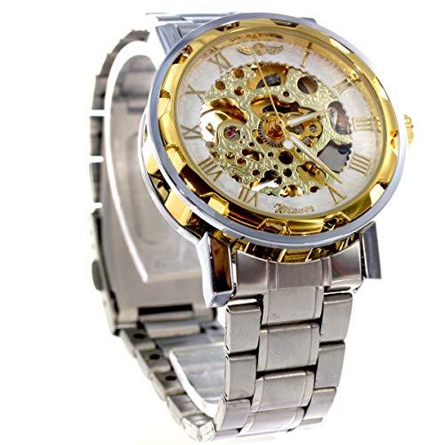 腕時計 自動巻き メンズ スケルトン シンプル ウォッチ BCGLQ497 ゴールド × ホワイト